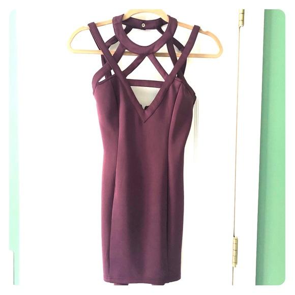 Tobi Dresses & Skirts - Strappy plum mini dress